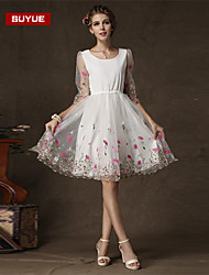 Suyue® High Quality Women's White Embrodery  Round Neck Knee-Length Dress
