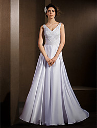 Lanting A-line Wedding Dress - White Floor-length V-neck Satin Chiffon