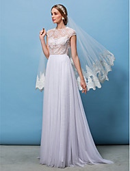 Lanting Bride A-line / Princess Petite / Plus Sizes Wedding Dress-Sweep/Brush Train Jewel Lace / Tulle
