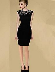 neueste Spitze Spleiß ärmelloses Kleid Mini Frauen