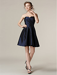 Lanting Short/Mini Taffeta Bridesmaid Dress - Dark Navy Plus Sizes / Petite A-line / Princess Strapless