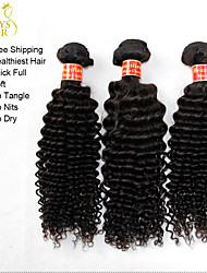 "3 Pcs Lot 12""-30"" Unprocessed Raw Brazilian Kinky Curly Virgin Hair Wefts Natural Black Remy Human Hair Weave Bundles"