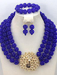 Fashion African Beads Jewelry Set Wedding Bridal Necklace Bracelet Earrings Set AC026