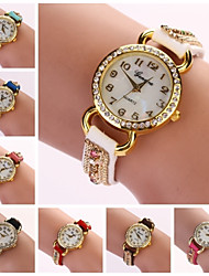 Women's Diamond Round Dial Colored Band Quartz Movement Buckle Elegant Fashion Watch C&D56 (Assorted Color) Cool Watches Unique Watches