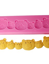 FOUR-C Chocolate Moulds 3D Bears Fondant Molds Cupcake Supplies Color Pink
