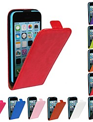 Genuine Crazy Horse PU Leather Slim Light Flip Case Cover for iPhone 5c(Assorted Colors)
