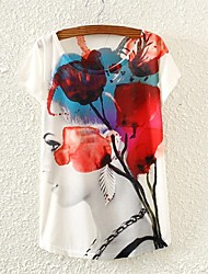 Women's Beauty Floral Print Short Sleeve T-shirts