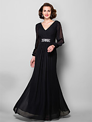 Lanting Bride A-line Plus Size / Petite Mother of the Bride Dress Floor-length Long Sleeve Chiffon withBeading / Crystal Detailing /