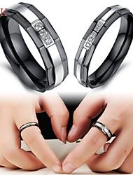 OPK®2PC AAA Zirconium Drill Black Symbol of Eternal Love Stainless Steel Couple Rings