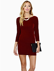 Women's Vintage/Casual/Party/Work Micro-elastic Long Sleeve Above Knee Dress (Cotton)