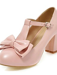 Women's Shoes Round Toe Chunky Heel Pumps with Bowknot Buckle Shoes More Colors available