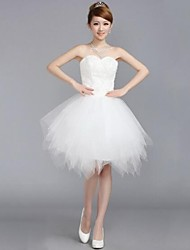 Wedding Party Dress A-line Sweetheart Knee-length Tulle with Embroidery / Lace