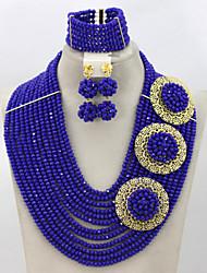 Fashion Bridal Necklace Set African Wedding Crystal Costume Jewelry Set
