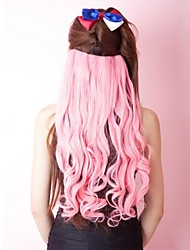 Long Curly Women Synthetic Pink Hair Extension
