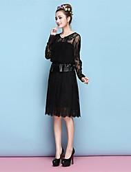 TS® Vestido ( Roupa de Tricô/Outros/Pele Artificial ) Sensual/Bodycon/Renda - Comprimento de Joelho com Com Forro