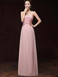 A-Line Strapless Floor Length Satin Formal Evening Dress with Pockets