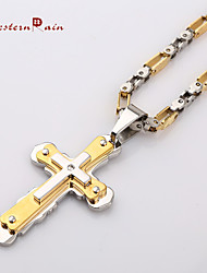 WesternRain 2015 Fashion Necklace Stainless Steel Fashion Cross Man And Lockets Pendant&Necklace Jewelry Men