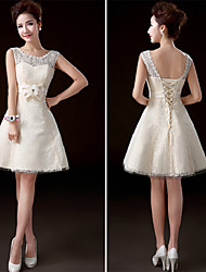 Knee-length Lace Bridesmaid Dress - Champagne A-line Jewel