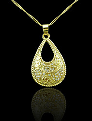 18K Real Gold Plated Drops Of Water Zircon Pendant Necklace
