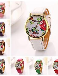mujeres peonía roja pu vestido soporte dama marca de lujo de diamantes de cuero reloj de pulsera (colores surtidos) c&d-199