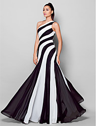 TS Couture Formal Evening Dress - Color Block Sheath / Column One Shoulder Floor-length Chiffon with Side Draping