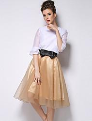 nova moda coreano cor sólida pettiskirt simples saia de Ling-dwomen