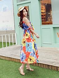 Women's Hot Color High Waist Sexy Slip Chiffon Dress Printed Bohemia Dresses