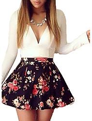 Mode tiefen V-Ausschnitt Langarm, figurbetontes Kleid e9 Frauen