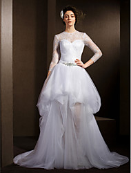 LAN TING BRIDE A-line Wedding Dress Two-in-One Court Train Jewel Lace Tulle with Crystal Pick-Up Sash / Ribbon