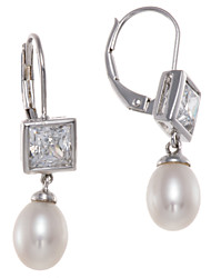 Freshwater Cultured Pearl & Cubic Zirconia CZ Sterling Silver Dangle Earrings