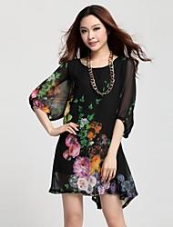 Women's Plus Sizes Print Chiffon Dress
