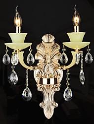 Crystal Wall Lamp 2 Lights Modern Zinc Alloy Jade-like Resin and Crystal