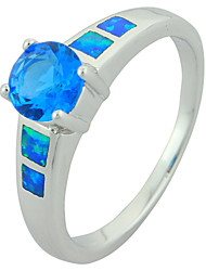 Women's Fashion Bule Fire Opal Silver Plated Ring with Bule Stone