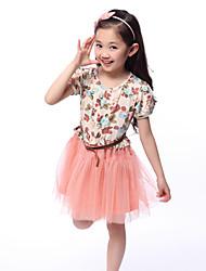 Girl's Sweet Floral Print Dresses