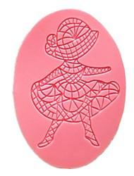 moldes do bolo fondant rendas menina dança oval queque molde para a ferramenta de bolo ferramenta de decoração da cozinha do cozimento