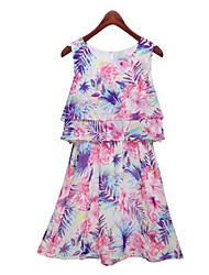 Mini - Vestido - Con Estampado/Bonito - Gasa