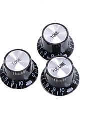 Black Speed Control Knobs for Electric Guitar 20SET/LOT (1 Volume & 2 Tone A Set)