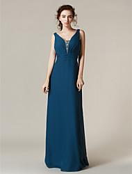 Lanting Bride® Floor-length Chiffon Bridesmaid Dress - Sheath / Column Straps Plus Size / Petite withBeading / Crystal Detailing / Sash /