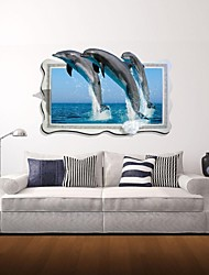 3d наклейки стены Наклейки на стены, дельфины декор виниловые наклейки стены