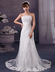 Sheath/Column Court Train Wedding Dress -Strapless Satin