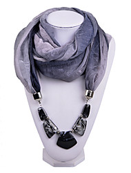 D Exceed   Women Gradient Design Infinity Ring Voile Scarf with Irregular Beads Pendant Scarfs