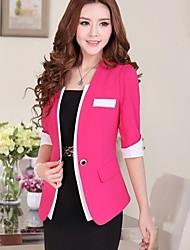 Women's Work Short Sleeve Regular Blazer (Cotton)