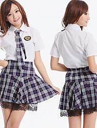 Cute Girl Black Tartan Pattern Skirt School Uniform