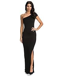 Women's Backless One Shoulder Slim Evening Dress