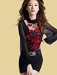 Women's Casual Lace Micro Elastic Long Sleeve Above Knee Dress