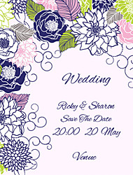 Personalized Wedding Invitations Colorful Flower Pattern Save The Date Paper Card 15cm x 12.5cm 50pcs/Set