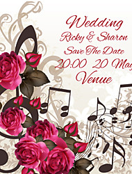 Personalized Wedding Invitations Music and Rose Pattern Save The Date Paper Card 13.5cm x 13.5cm 50pcs/Set