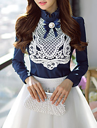 Women's Bodycon/Lace/Work Stand Collar Long Sleeve Lace Applique Tops & Blouses (Elastic/Polyester)