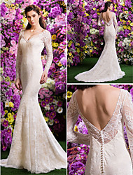 Lan Ting Trumpet/Mermaid Wedding Dress - Ivory Court Train V-neck Lace