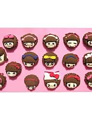 menina dos desenhos animados fondant de açúcar senhora moldes do bolo de chocolate do molde para a ferramenta de bolo assando cozinha decoração